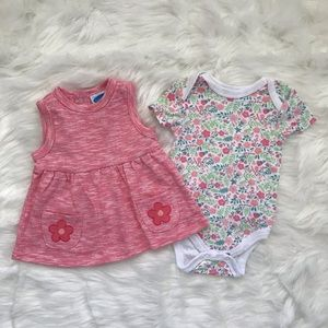 Bon Bebe Baby Girls Bodysuit Dress Set 3-6M